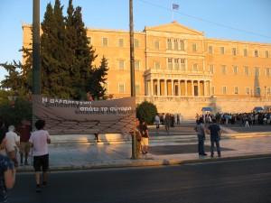 Vor dem griechischen Parlament fuer Solidaritaet und golbale Beweungsfreiheit